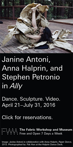 Janine Antoni, Anna Halprin, and Stephen Petronio in Ally at the Fabric Museum